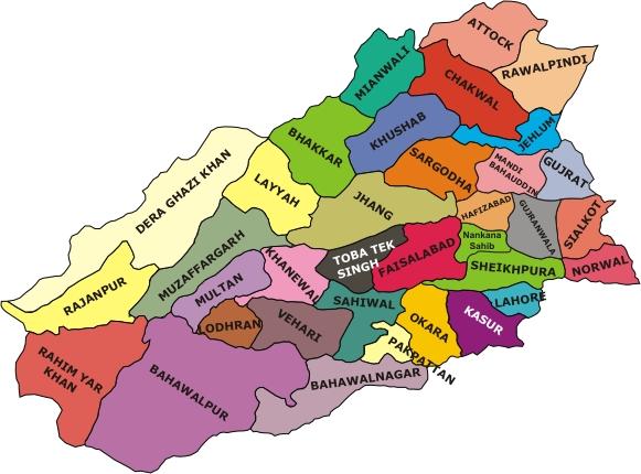 Punjab - Major cities of pakistan map